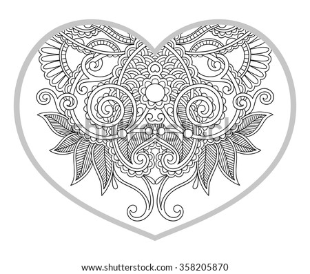 heart shaped pattern for adult and older children coloring book, black and white zentangle background for valentines day greeting card paisley hand made print, vector illustration - stock vector