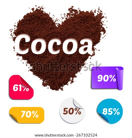 Heart Shaped Realistic Cocoa Powder with Labels. Cacao Percentage Set for Chocolate Packaging. - stock vector
