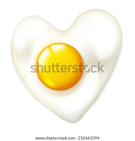 Heart shaped realistic fryed egg, vector isolated breakfast on a white background