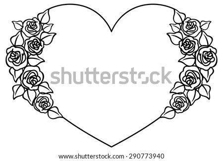 Heart-shaped silhouette frame with roses - stock vector