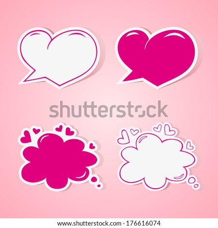 Heart shaped speech bubbles set - elements for wedding or baby shower invitation, scrapbooking etc. Vector illustration