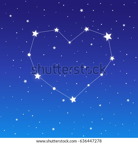 Heart shaped star constellation on starry blue night sky. Valentine's day abstract vector background illustration.