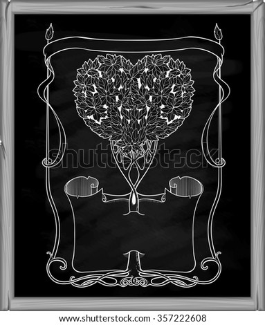 heart-shaped tree with papirus and frame on a blackboard - stock vector