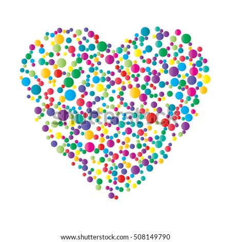 Heart-shaped vector illustration made of colorful bubbles