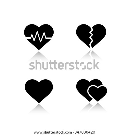 Heart shapes drop shadow icons set. Cardiology clinic cast shadow logo concepts. Heartbeat rhythm, broken heart, love sign and romantic relationship symbol. Vector black silhouette illustrations - stock vector