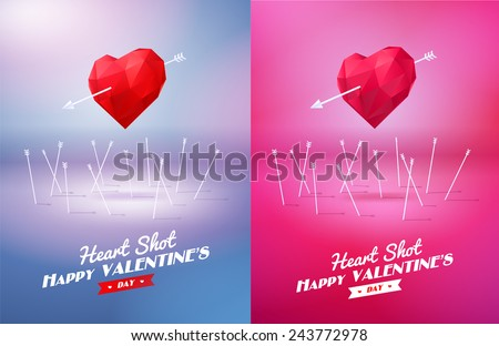 Heart shot. Two red origami heart  pierced by an arrow. Vector Illustration. Abstract polygonal heart. Love symbol. Low-poly colorful style. Romantic background for Valentines day. Eps 10 - stock vector