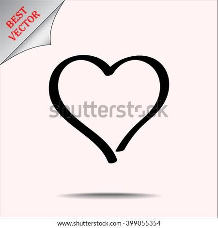 Heart sign icon, vector illustration. Flat design style - stock vector