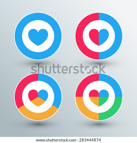 Heart sign icons. Sun sign buttons. Flat colors. Vector illustration.