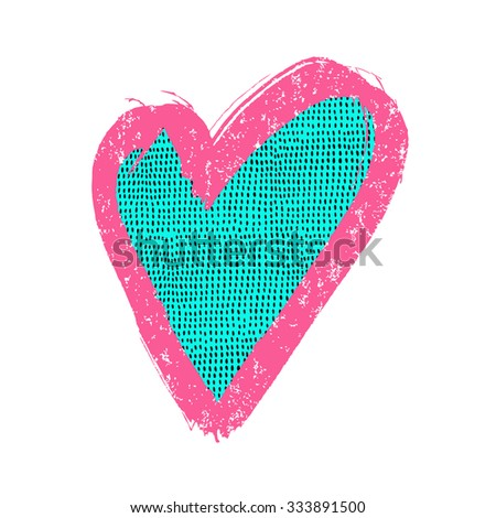 Heart sign. Surface decoration with grunge texture.Vector illustration. Cloth print design, wallpaper, wrapping. - stock vector