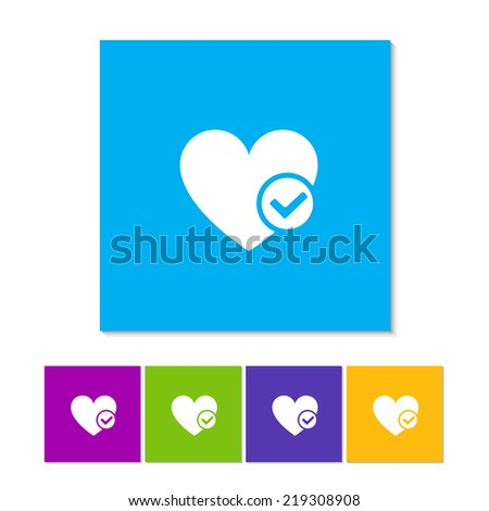 Heart sign web icon with check mark glyph. Vector illustration design element. Orange, purple, magenta, violet, yellow, green and blue color buttons - stock vector