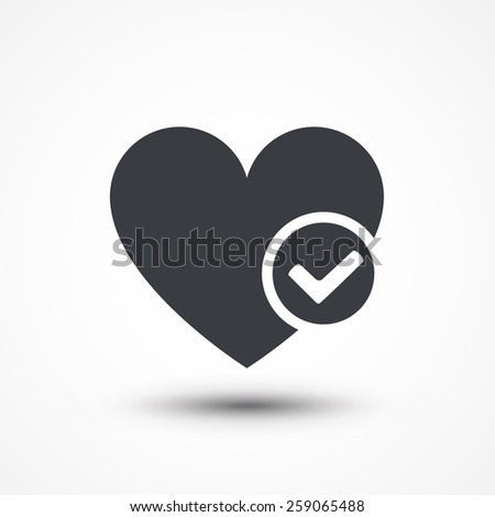 Heart sign web icon with check mark symbol. Vector illustration design element eps10 - stock vector