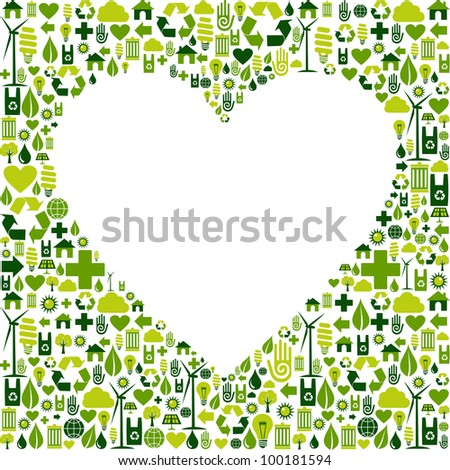 Heart silhouette made with eco friendly icon collection. Vector file available. - stock vector
