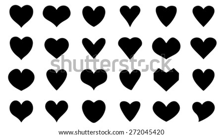heart silhouettes on the white background - stock vector