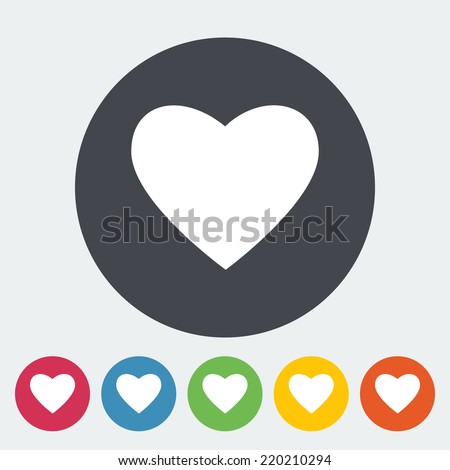 Heart. Single flat icon on the circle. Vector illustration. - stock vector