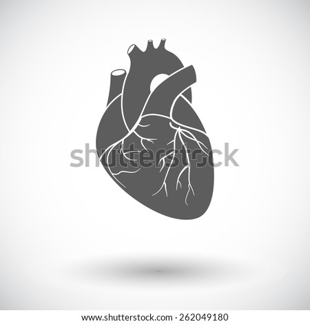 Heart. Single flat icon on white background. Vector illustration. - stock vector