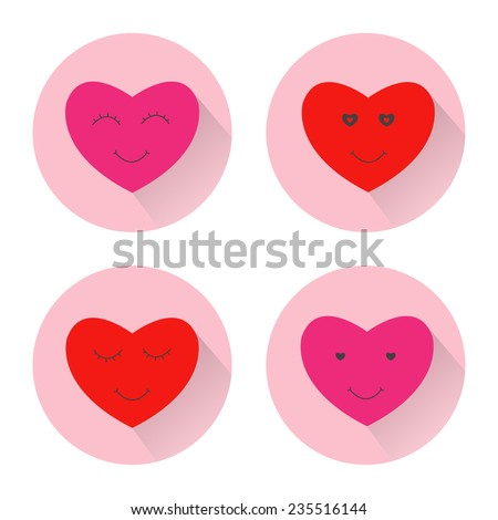 Heart smile face icon. Design color flat illustration with long shadow. 4 vector valentine icons set - stock vector