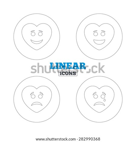 Heart smile face icons. Happy, sad, cry signs. Happy smiley chat symbol. Sadness depression and crying signs. Linear outline web icons. Vector - stock vector