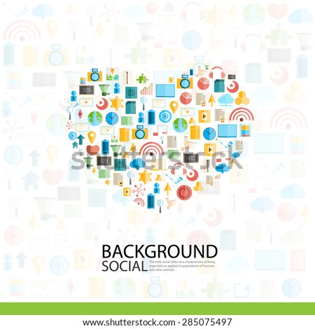Heart Social network with media icons background, vector illustration
