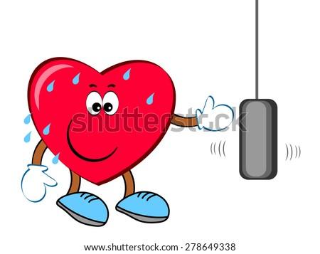 Heart - sportsman , boxing. - stock vector