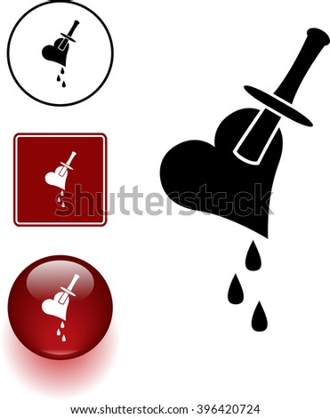 heart stab symbol sign and button - stock vector