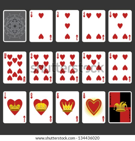 Heart Suit Playing Cards Full Set - stock vector