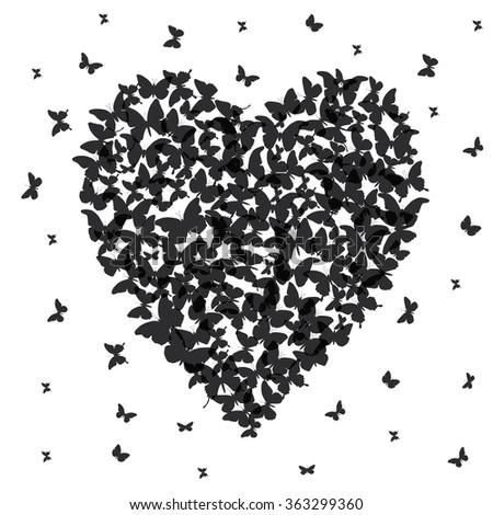 Heart - summer banner, card design, black butterfly on white background. Vector - stock vector