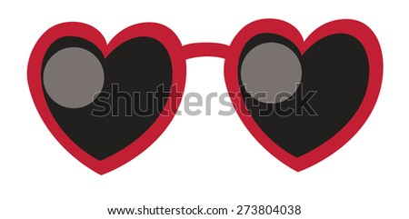 Heart Sunglasses on white background. Love concept. Vector illustration. - stock vector