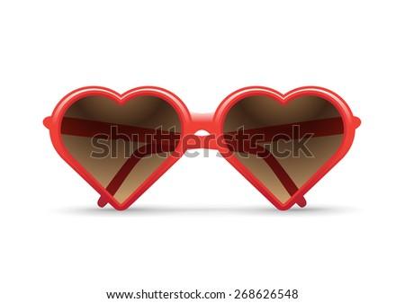 heart sunglasses vector illustration - stock vector