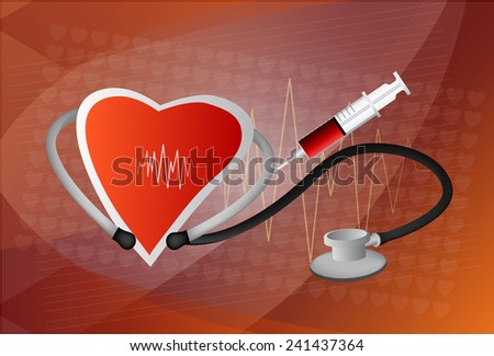 Heart symbol and stethoscope with normal electrocardiogram line, cardiac monitor, EPS10 - stock vector