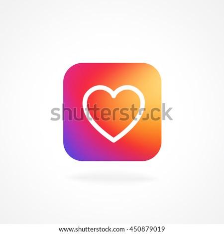 Heart Symbol App Icon Smooth Color Stock Vector 450879019 Shutterstock