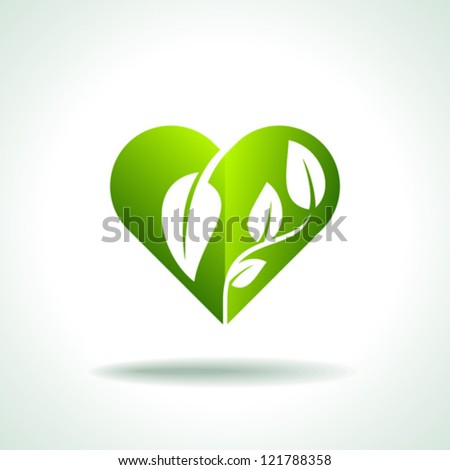 Heart symbol in green leaves - stock vector