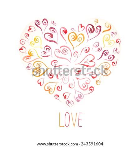 Heart symbol made up of calligraphic hearts with love word. Hand drawn watercolor picture. Vector illustration. Valentine's card or wedding invitation. - stock vector
