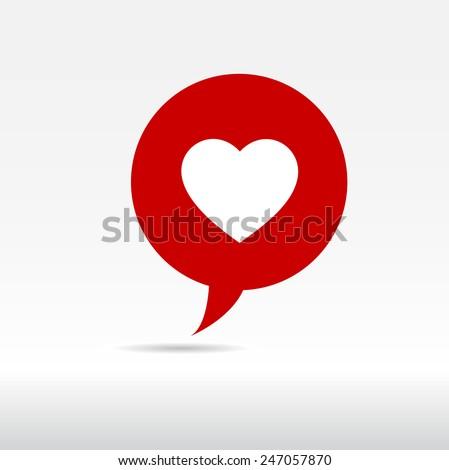 Heart Symbol Speech Bubble vector Illustration - stock vector