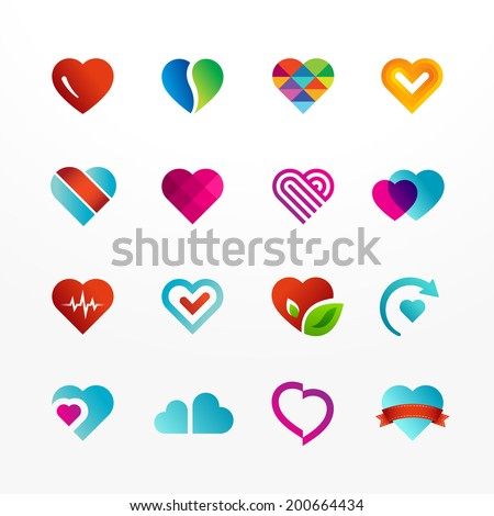 Heart symbol vector icon set. Collection of colorful signs. May be used in medical, dating, Valentines Day and wedding design. - stock vector