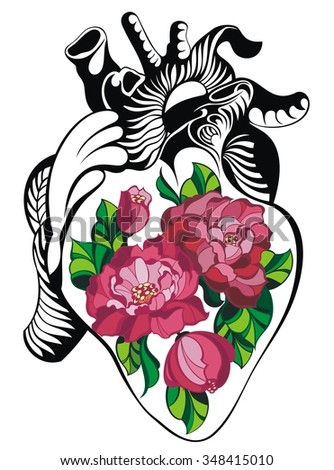 Heart tattoo with roses.Vector Heart  for your design - stock vector