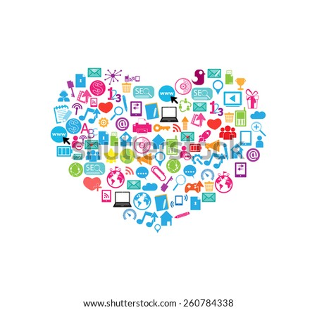 heart template design with social network icons background, vector illustration - stock vector