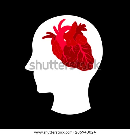 heart thinking, think with your heart, heart brain, vector illustration design - stock vector