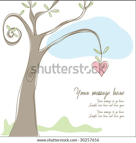 Heart Tree Greeting- Heart Hanging from tree with area for your text - stock vector