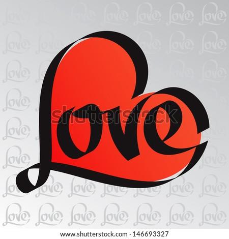 Heart typography. Love calligraphy.