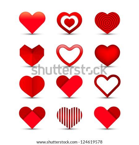 Heart valentine icon set vector illustration - stock vector