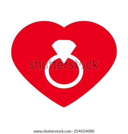 Heart valentine icon set vector illustration with Diamond ring vector icon  - stock vector