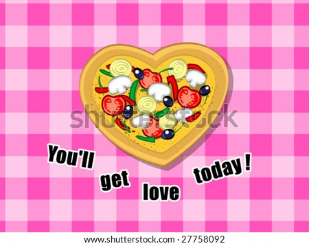 heart vegetarian pizza (editable layers) - stock vector