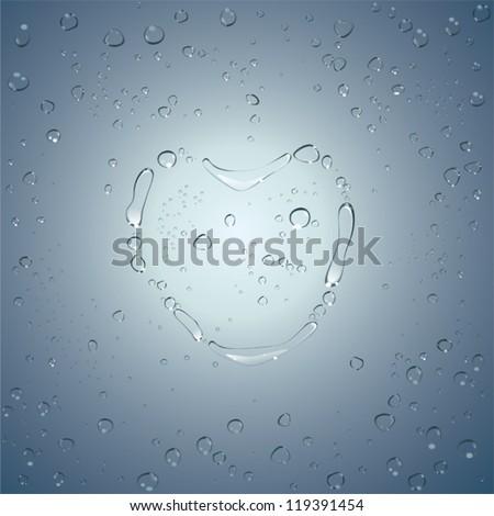 Heart water drops. Vector - stock vector