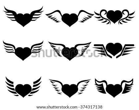 heart wings icon - stock vector