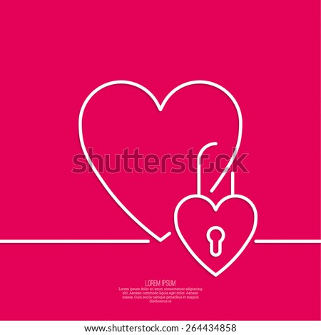 Heart with a lock. The concept of love forever. minimal. Outline. icon - stock vector