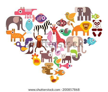 Heart with animal vector icons. Isolated color illustration on white background. - stock vector
