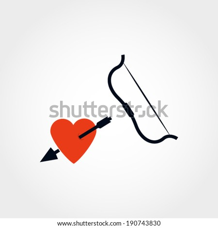 Heart with arrow and bow illustration - stock vector