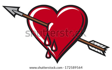 heart with arrow design  - stock vector