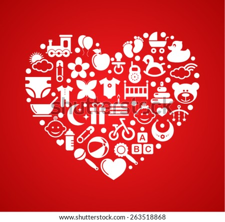 Heart with Baby icons - stock vector