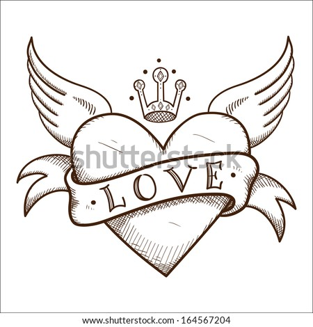 Heart with banner and crown. Sketch vector element for romantic design - stock vector